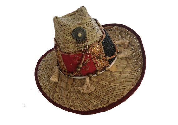 Boho hat. Zomerhoed Restyled hoed Verfraaide hoed Ibiza  f4c4f9ce6a77