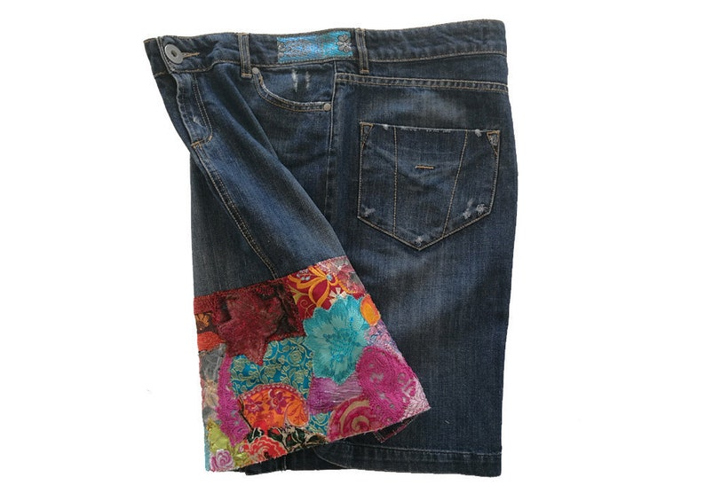 6730dc078a9d9d Boho jeans skirt. Boho skirt Ibiza fashion Restyled jeans