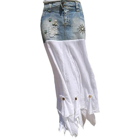 f2091711f2 Boho jeans skirt. Boho skirt Ibiza fashion Restyled jeans   Etsy