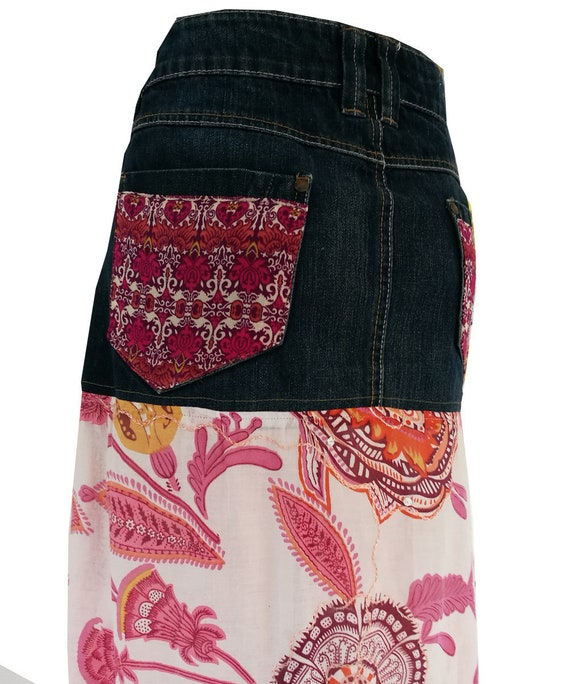 479c189ec88f87 Boho jeans skirt. Boho skirt Ibiza fashion restyled jeans