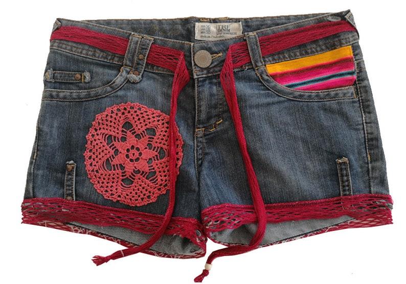 Korte Jeans Broek Dames.Restyled Jeans Short Boho Korte Broek Restyled Ibiza Etsy