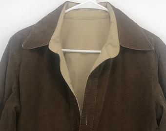 1f5b1b50635 Nino Cerruti Sport Men's Vintage 80s - 90s Reversible Brown Corduroy/Beige  Pullover Windbreaker Jacket SZ M