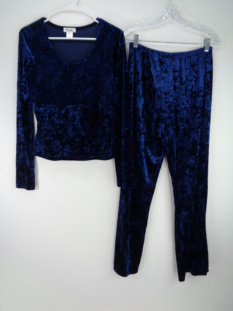 Blushe by Spiegel Womens Blue Vintage Velour Ruched Blouse /& Pants Size M