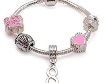 Liberty Charms Daughter Childrens Daddys Little Girl Silver Plated Charm//Bead Bracelet