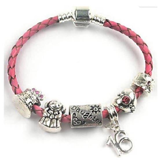 Fille Joyeux Anniversaire Poussin 131618 Ans Rose De Ladolescent Tressé Breloque Perle Bracelet En Cuir Avec Boîte Cadeau Et Pochette En