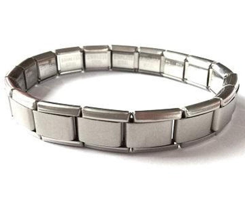 Stainless Steel 18 Link Matte Italian Charm Starter Bracelet Classic 9mm Size