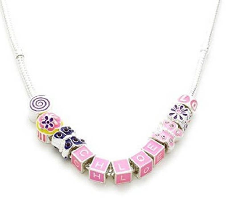 Children/'s Personalised Name /'Birthday Wishes/' Silver Plated Charm Bead Necklace with Velvet Pouch /& Gift Box