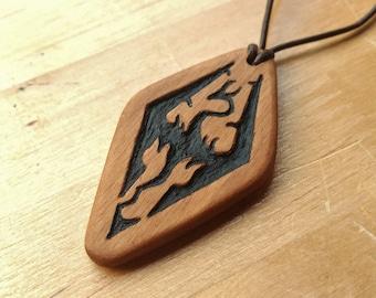 Wooden Skyrim Empire Dragon Pendant - The Elder Scrolls