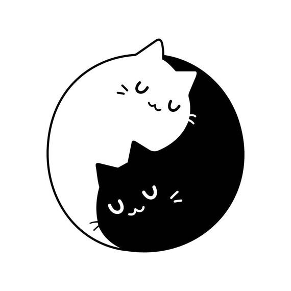 yin yang cats kittens graphics svg dxf eps png cdr ai pdf etsy rh etsy com Anime Yin and Yang Funny Yin Yang