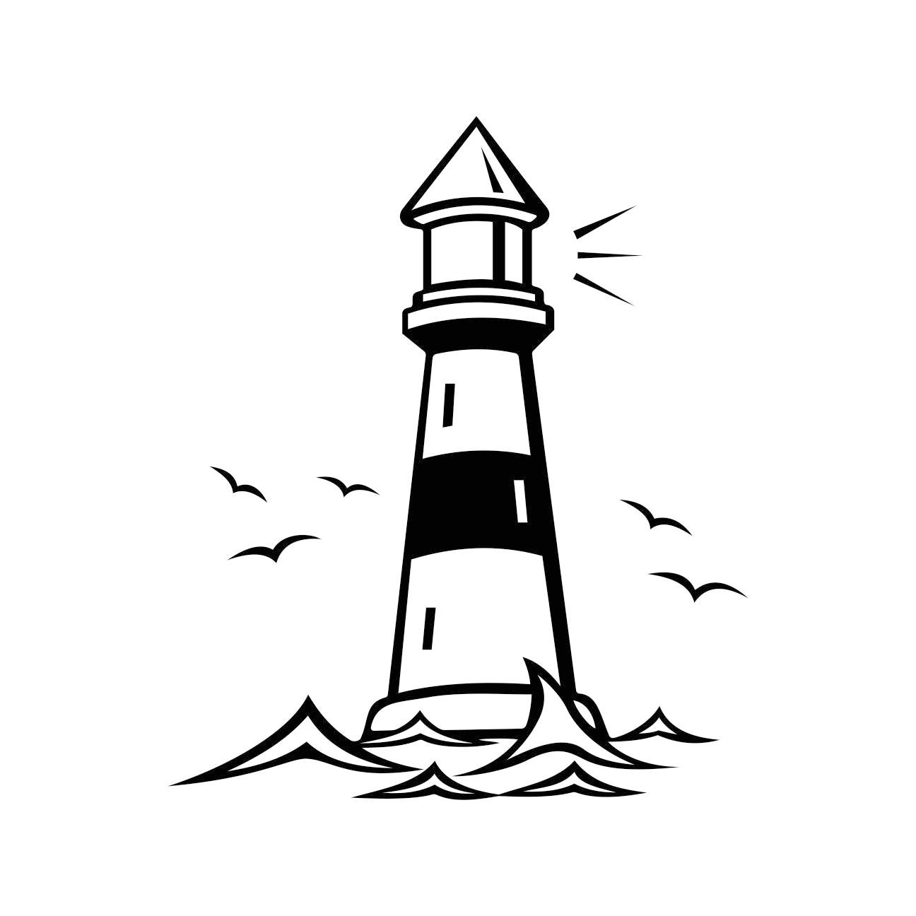 Lighthouse Beacon Birds Graphics SVG Dxf EPS Png Cdr Ai ...