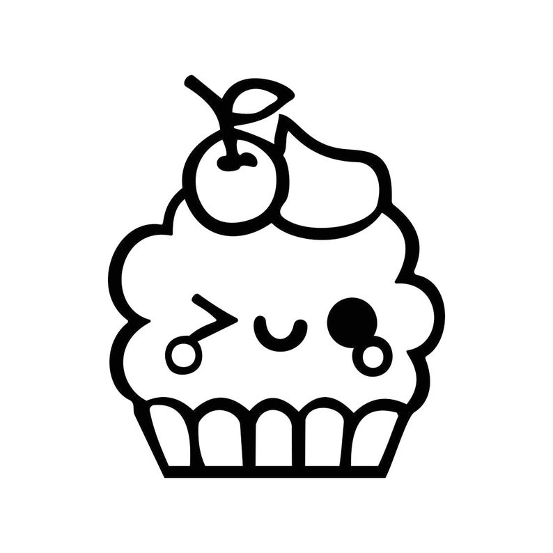 Cute Kawaii Cupcake Graphics Svg Dxf Eps Cdr Ai Pdf Vector