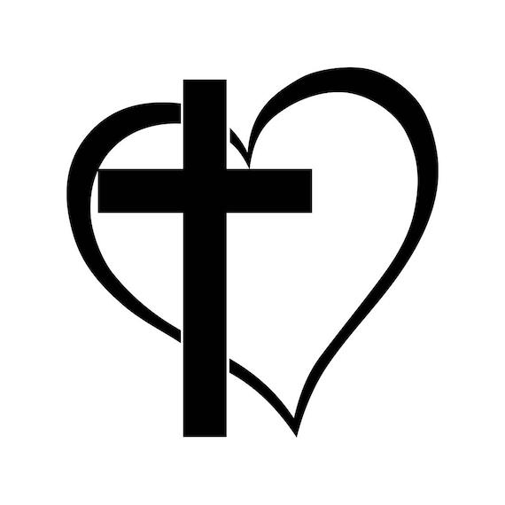 Cross Heart Jesus God Heart Love Graphics SVG Dxf EPS Png Cdr | Etsy