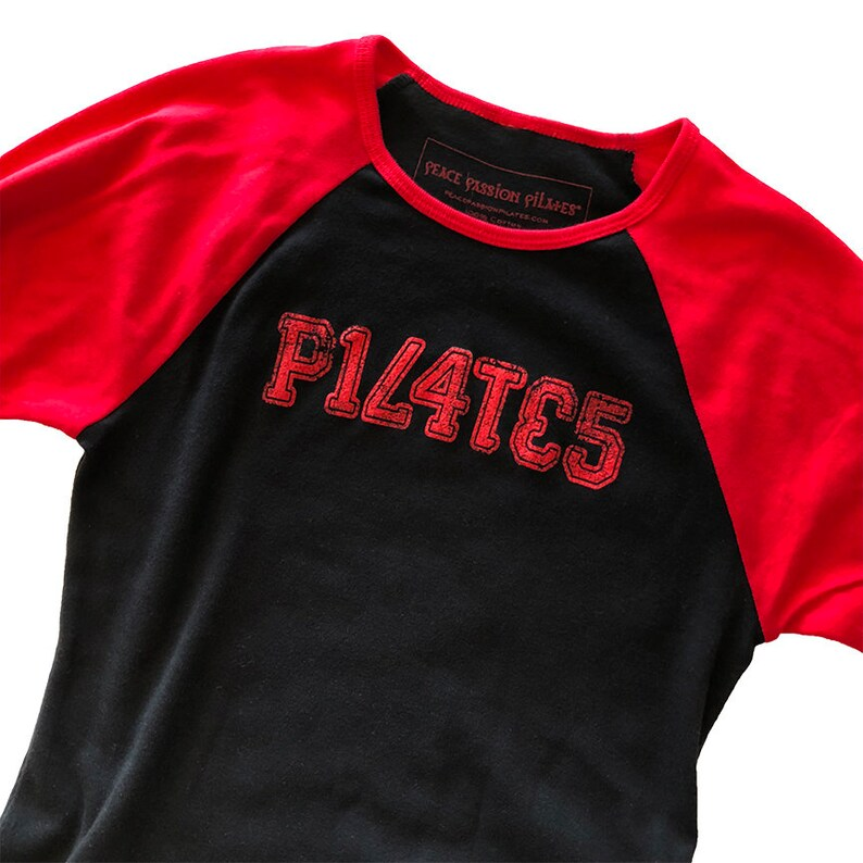 Pilates Cotton Baseball Style Tee in Black and Red Unique image 0