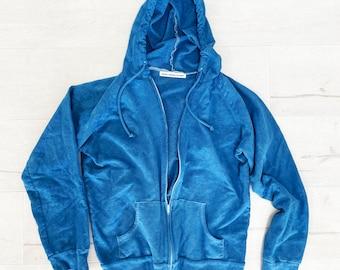 Indigo Blue Lightweight Hoodie, True Blue, Pilates Yoga Hoodie, Hand-Dyed Blue Hoodie, Blue Zip Hoodie, Blue Cotton Hoodie, Denim Blue Hood