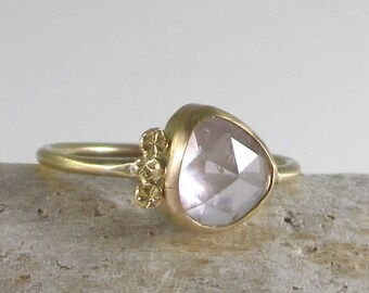 Amazing Natural Light Lavender Pink Tourmaline and 14k Gold Ring with Stars Detail * Size 7US