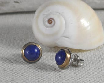Modern Post Earrings * 14K Gold and Sterling Silver with Lapis Lazuli* Simple Cabochon Studs Oxidized Turquoise, Moonstone, Labradorite