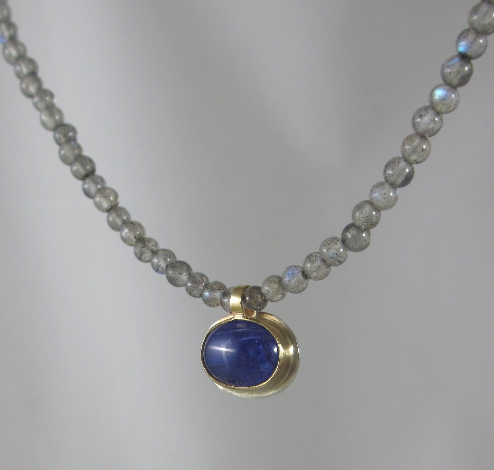 Sterling Silver Chain Necklace with Moonstone Rondelles Centerpiece Accented with Silver Beads 16