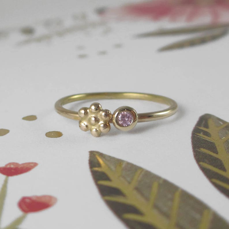 ffb2df5073de7 14k Gold Pink Sapphire and Daisy Flower Stacking Ring * Meadow Ring *  Sterling Silver Band * Wildflower Springtime Little Girl