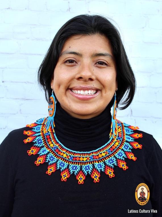 huichol art. Huichol necklace set huichol choker set Mexican necklace set beaded choker set