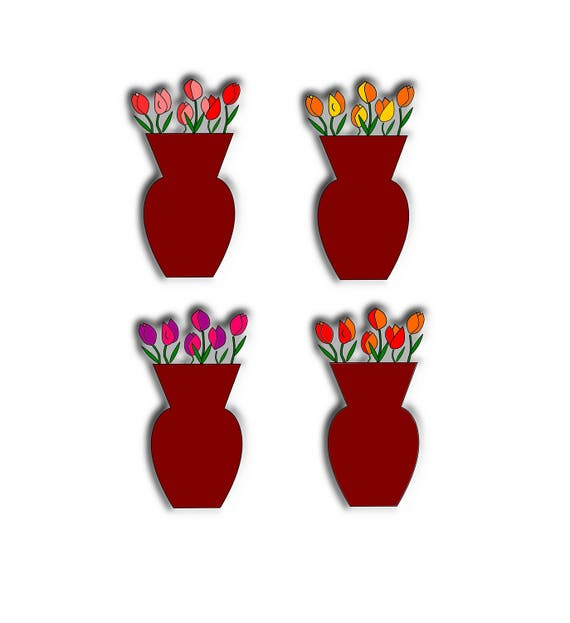 Tulips Cliparttulips In Vase Clipartflowers In Vase Clipart Etsy