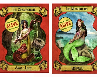 2 x Sideshow Posters. The Miraculous Mermaid/Spectacular Snake Lady. Circus Inspired Artwork. Vintage Circus Side Show. Freak Show Banner.