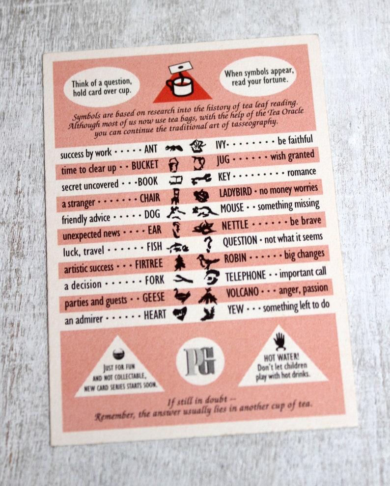 Vintage Tea Leaf Oracle  Brooke Bond Tea Leaf Oracle Card  Tea Leaf  Reading  Tasseography  Vintage Fortune Telling  Fortune Telling  Oracle