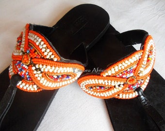Orange beaded sandals, sandals women, leather flat sandals, african shoes, ethnic sandals, summer shoes woman, boho sandals orange