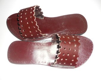Leather flat sandals, leather slippers, greek sandals, brown leather sandals, strappy sandals, african sandals, leather flats, brown leather
