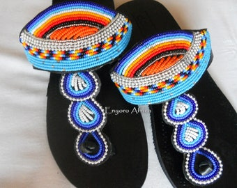 Hippie sandals, handmade summer shoes, leather flat sandals for women, shoes made in africa, boho sandals woman, blue and orange sandals