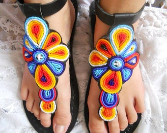 Rainbow boho shoes, bohemian sandals, hippie shoes woman, leather flat sandals woman, flower shoes, bridesmaid shoes, buckle sandals woman