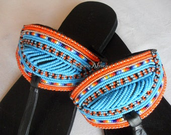 Summer shoes woman, blue flat sandals, leather flat sandals for woman, handmade beaded flat sandals, genuine leather sandals, blue boho shoe
