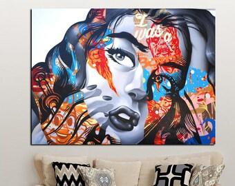Graffiti Sexy Woman Face Wall Art Canvas 85be8045a4653