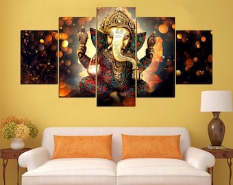 5 Panels Hindu God Ganesha Elephant Painting Wall Art Modern Home Decor Canvas Print Poster FRAMED STRETCHED on Wooden Frame Ready to Hang