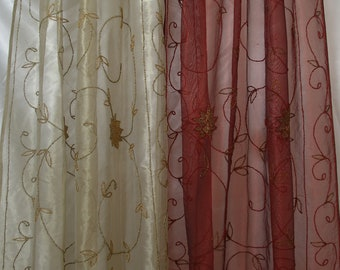 Blue Brown Purple Pink White Dot Tree Embroidered on Lace Sheer Curtain Cherry