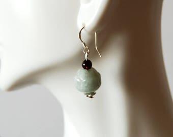 Jade Lotus Flower Sterling Silver Earrings