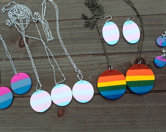 Pride Jewelry, Pride Necklaces, Pride Earrings, Trans Pride Jewelry, Bisexual Pride Jewelry, Gay Pride Necklace, LGBTQ, Festival Jewelry