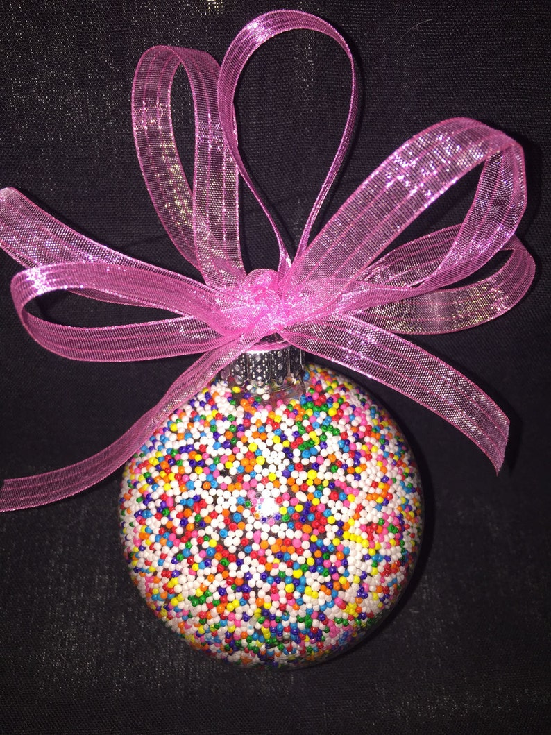 Rainbow Candy Ball Glass Glitter Sparkly Christmas Holiday Ornament