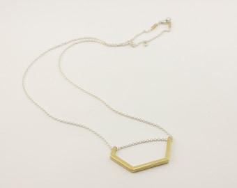 Geometric Brass Pendant on Silver Chain