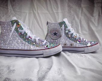 5bd7a399ccc4 Custom Fully Covered Pearl Rhinestone Chuck Taylor Converse