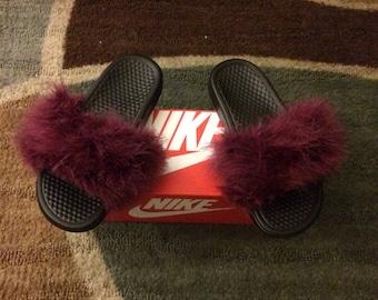 4584687259a3 Custom Womens Nike Fur Slides MENS 7