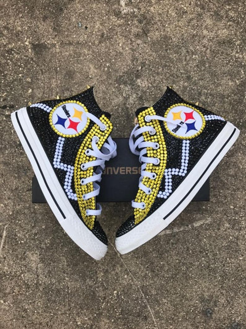 377073b6c6e Custom Blinged Out Pittsburgh Steelers Converse