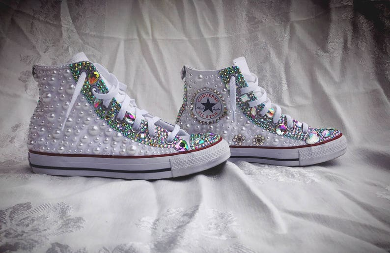 e10c20be2ad Custom Fully Covered Pearl Rhinestone Chuck Taylor Converse