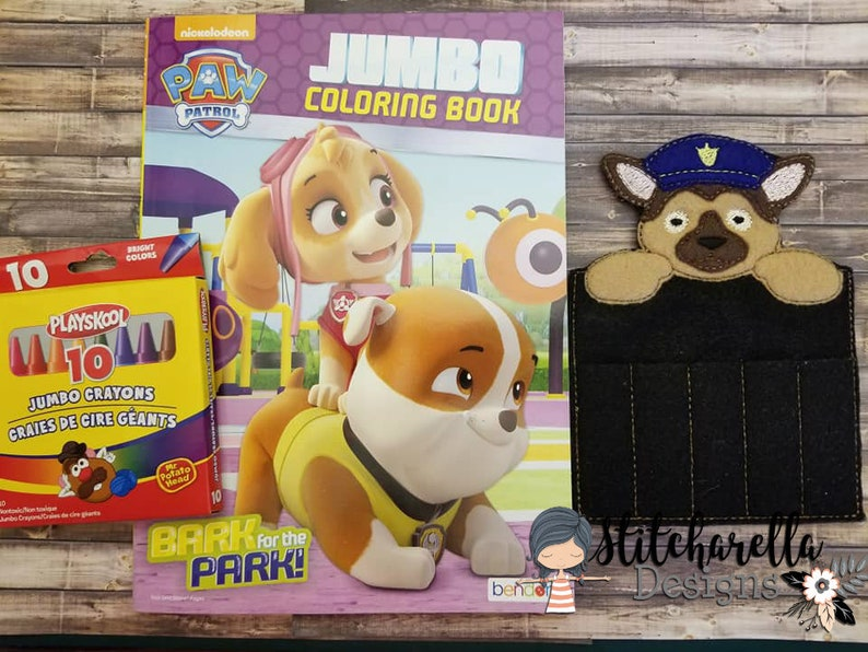 Paw Patrol Crayon Holder with Coloring Book and Crayons
