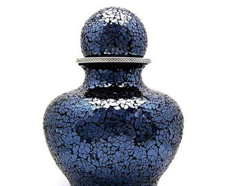 Urn for Human Ashes, Dark Blue and Burgundy, Large