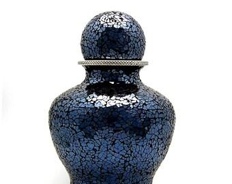 Urn for Human Ashes, Dark Blue and Burgundy, Medium