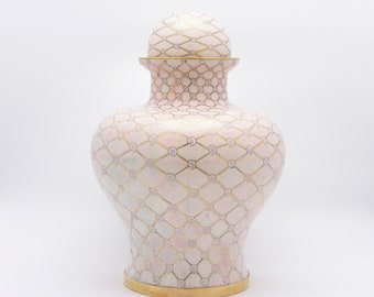 Adult Cremation Urn, Pearl White
