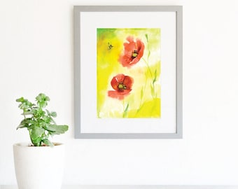 Floral Watercolour Art Print. Modern Flowers Wall Art. Red Poppies. Colorful Watercolour Flower painting