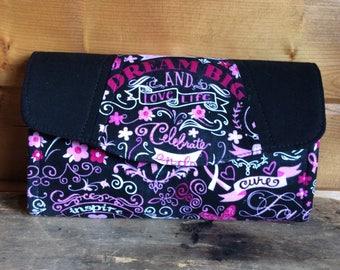 Necessary clutch wallet/Ncw/accordion wallet /breast cancer/ survivor /pink power/ womans wallet/ gift