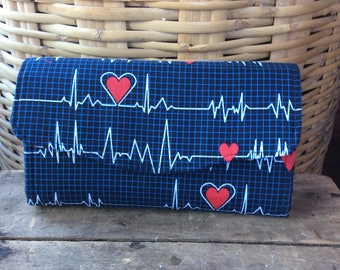 NCW/ Necessary Clutch  Wallet / womans Wallet/ heartbeat/nurse/ handmade/ekg/gift/healthcare/blue/purse