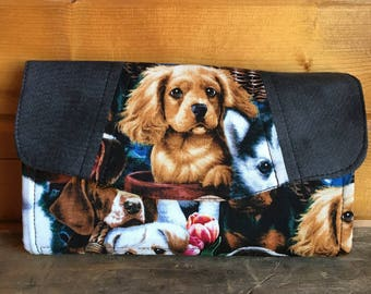 Necessary clutch wallet/NCW/Clutch/ accordion wallet/ womans wallet/dogs/puppies/gift/handmade/dog lover/dog